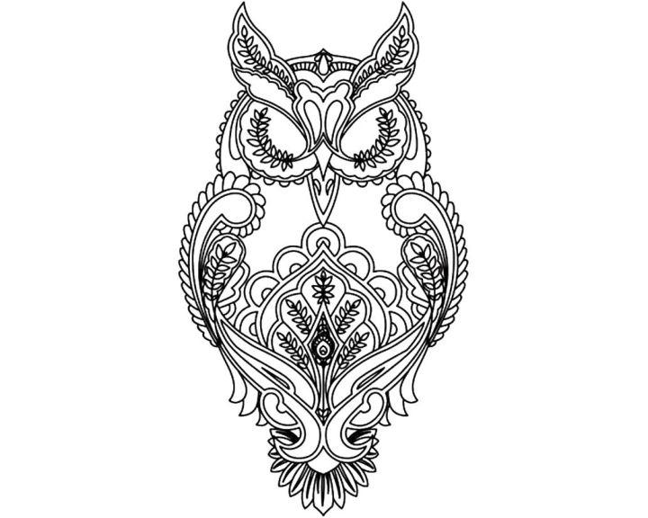 Раскраска Сова из узора | Раскраски антистресс