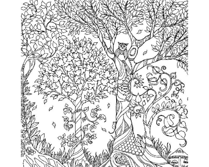 Раскраска Зеленое дерево | Раскраски антистресс