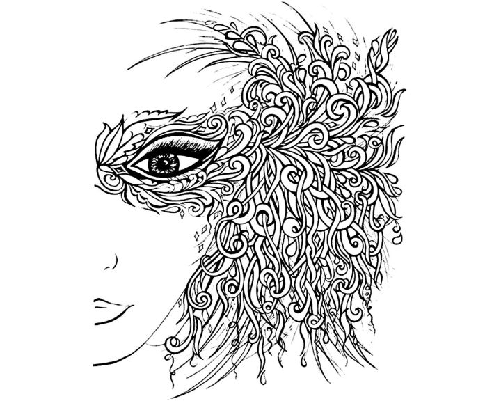 раскраска девушка в маске раскраски антистресс