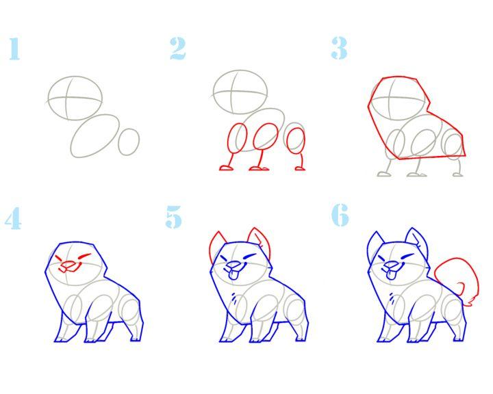 Рисуем Собаку поэтапно для детей.