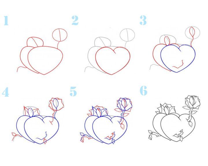 красивые картинки сердечки поэтапно рисовать высокой