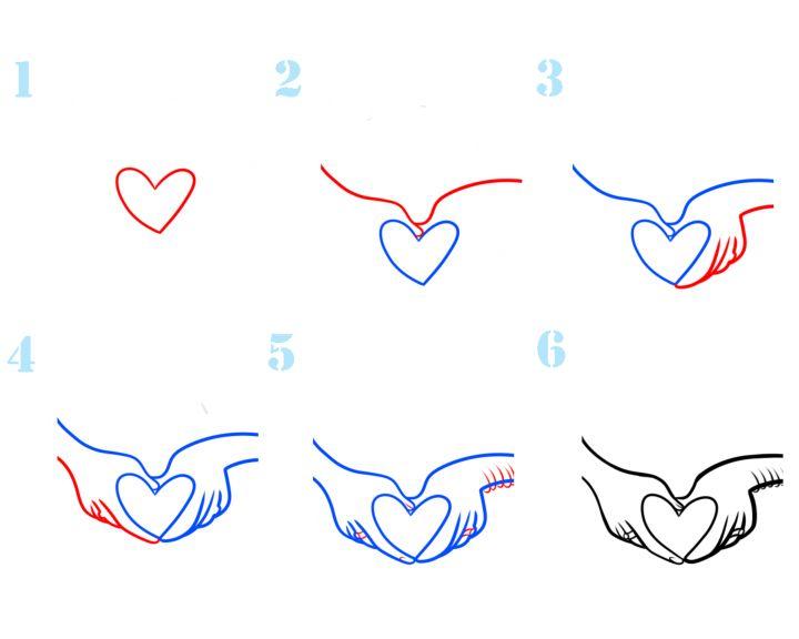 красивые картинки сердечки поэтапно рисовать рабочем положении