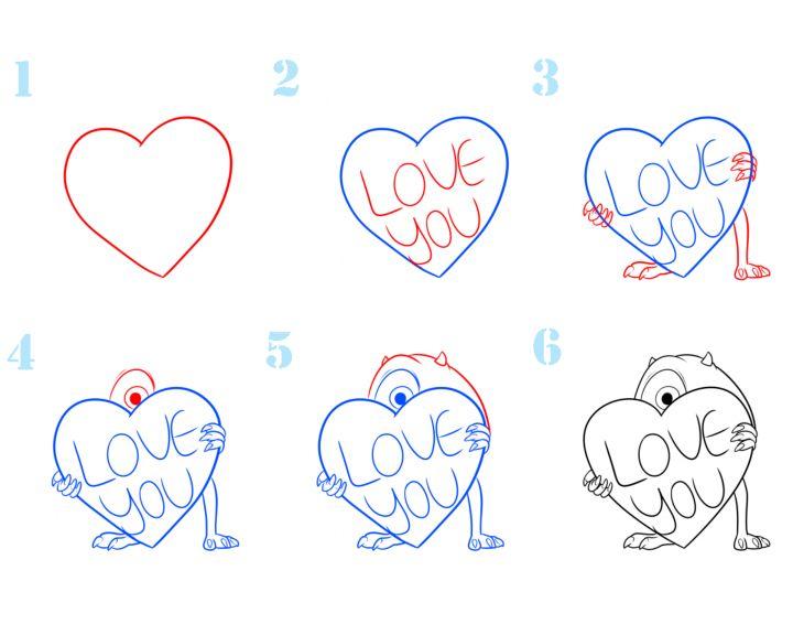 рисунки сердечки поэтапно столкнуться небольшими