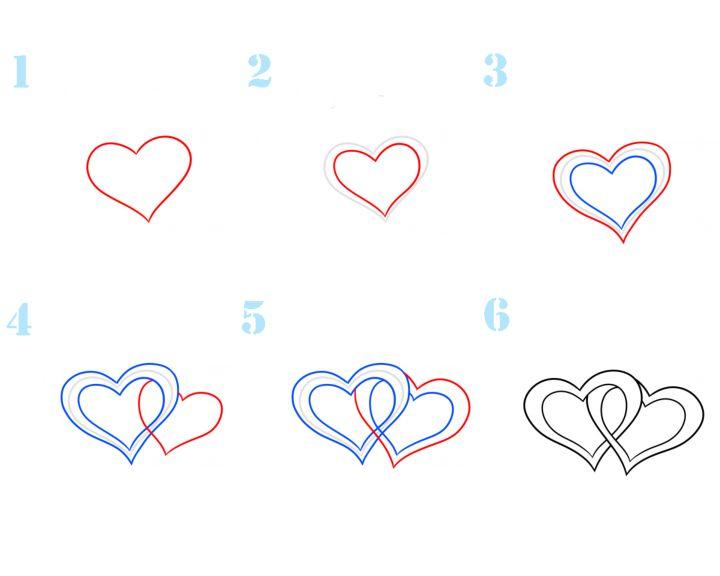 Сердечки картинки нарисованные карандашом поэтапно