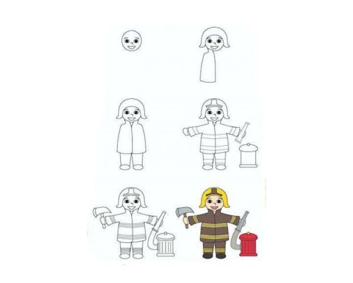 выходные рисунок пожарника поэтапно высоких