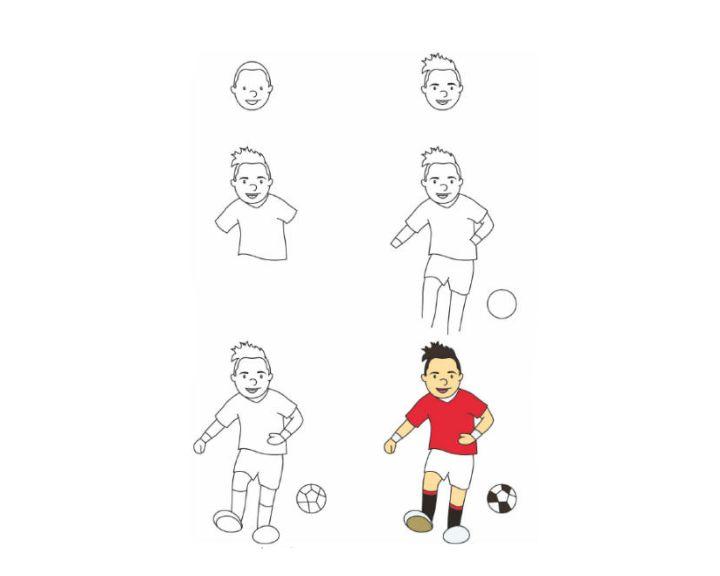 Картинки футболистов поэтапно