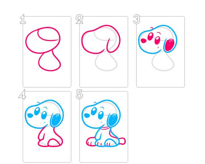 Рисуем милого Щенка поэтапно для детей.