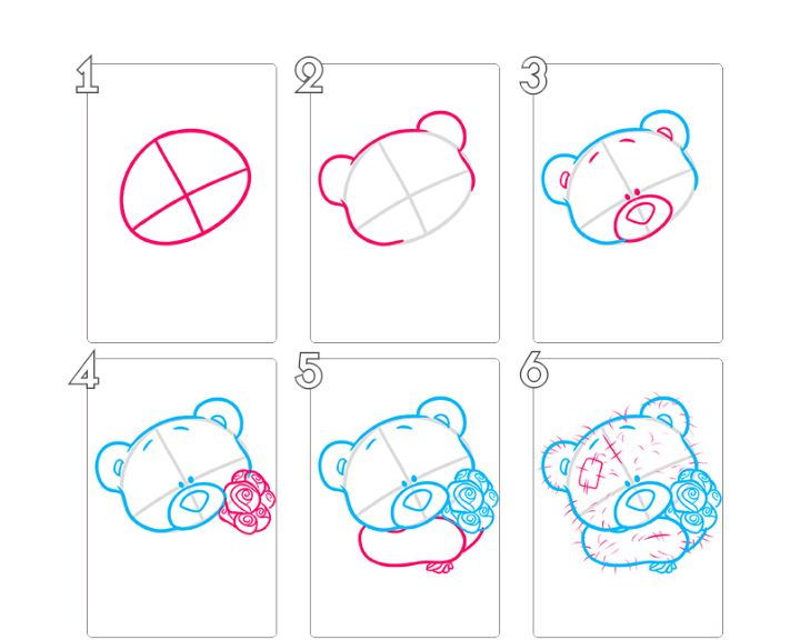 Мишка тедди рисунки по этапно